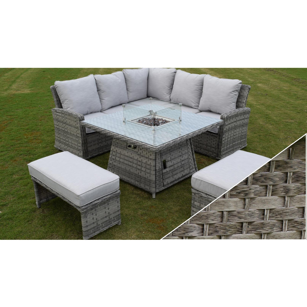 Florence Casual Dining Firepit Set Dark Grey