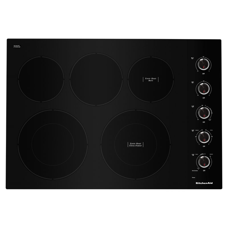 "30"" Electric Cooktop with 5 Elements and Knob Controls KCES550HBL"