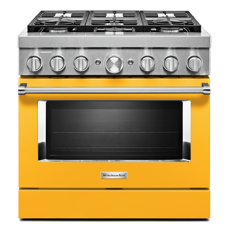 KitchenAid® 36'' Smart Commercial-Style Dual Fuel Range with 6 Burners KFDC506JBK