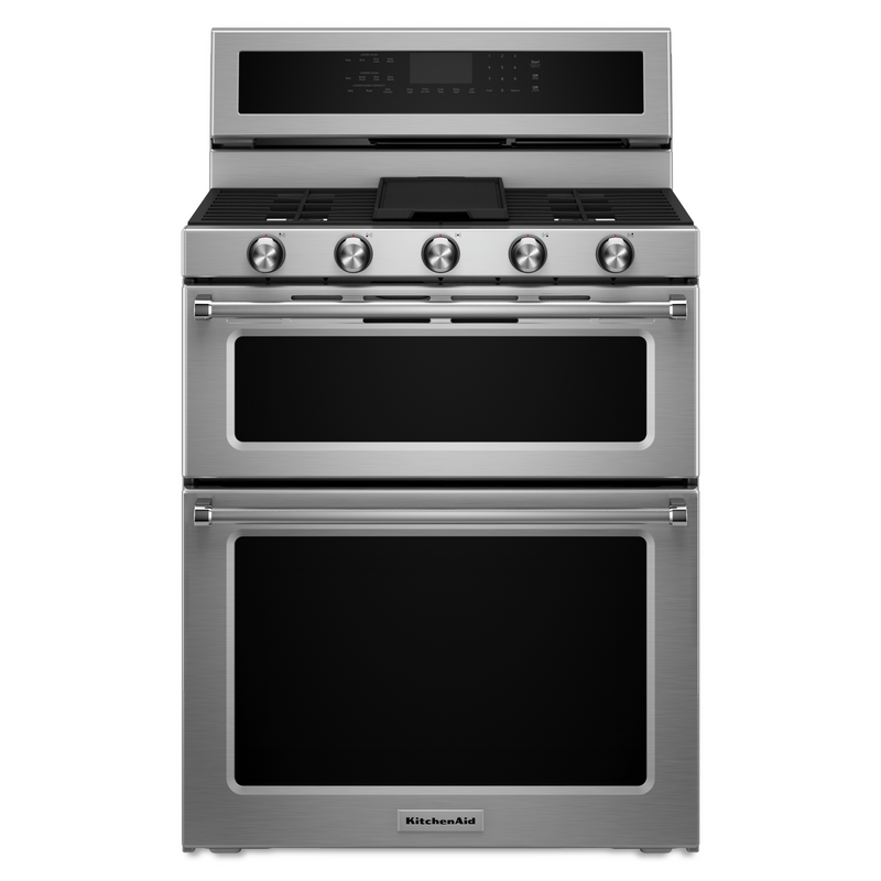 30-Inch 5 Burner Gas Double Oven Convection Range KFGD500EBS