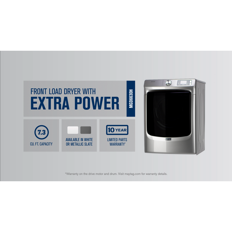 Front Load Gas Dryer with Extra Power and Quick Dry Cycle - 7.3 cu. ft. MGD6630HW