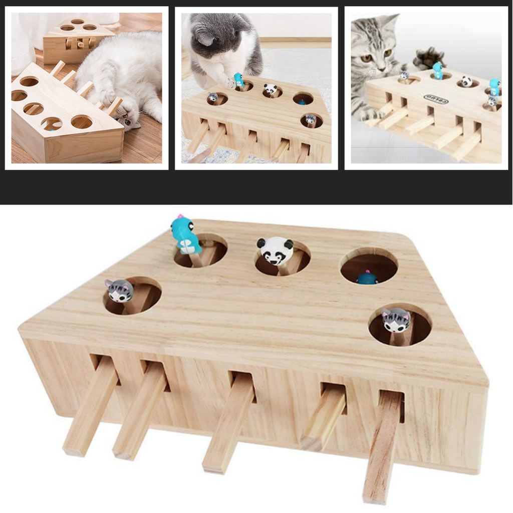 5 Hole Wooden Interactive Cat Toy - Fun toy for cats - Ozayti