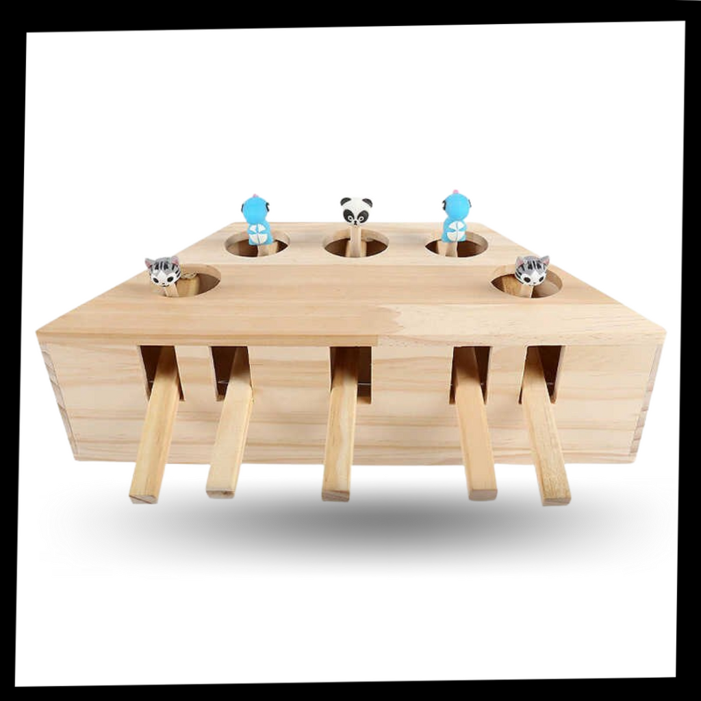 5 Hole Wooden Interactive Cat Toy - Included in the package - Ozayti