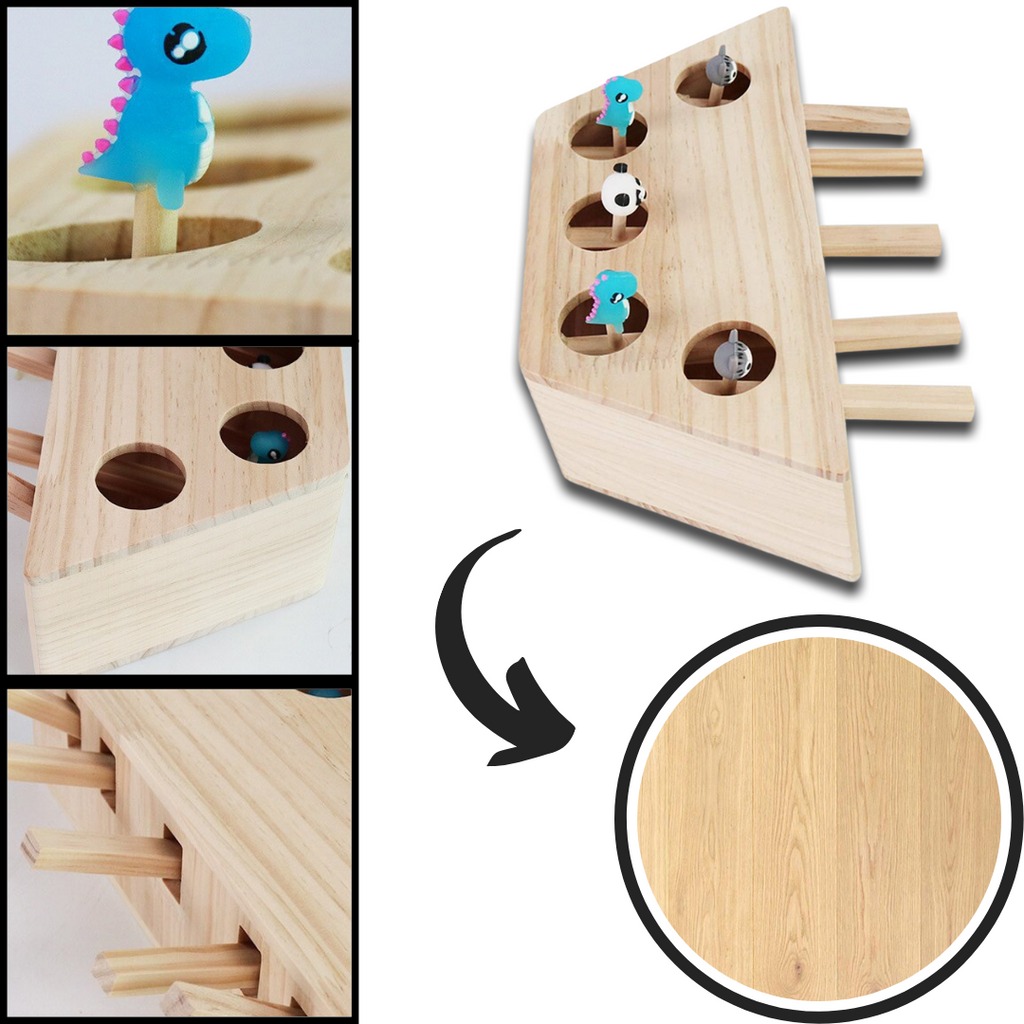 5 Hole Wooden Interactive Cat Toy - Pet friendly material - Ozayti
