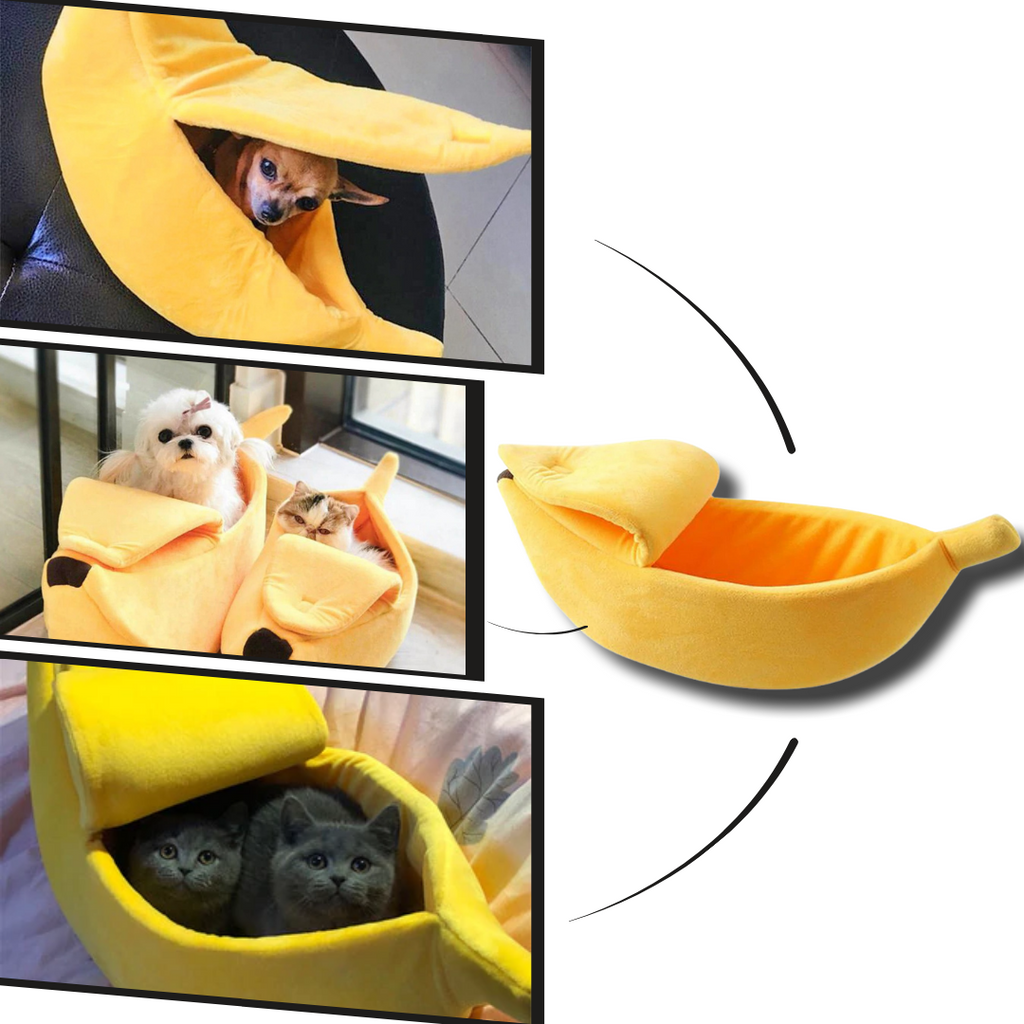 Banana Shaped Pet Bed - Cute and comfortable for cats and dogs - Ozayti