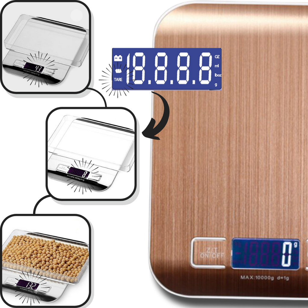 Stainless Steel LCD Digital Kitchen Scale - Convenient Tare function - Ozayti