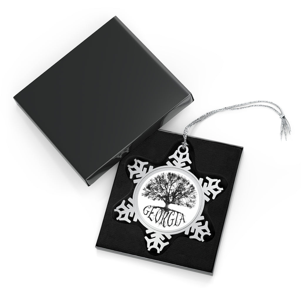 Georgia - Big Tree - Pewter Snowflake Ornament