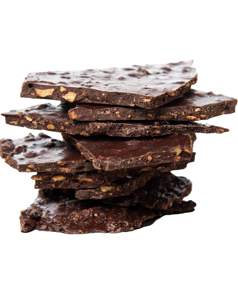 One of a kind dark chocolate bark with plantain crisps. This crunchy bark is packed with antioxidants, gluten free, dairy free, and nut free.