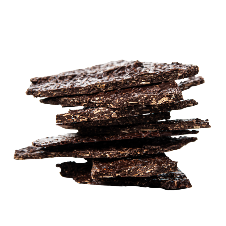 Dark chocolate bark with coconut crisps. The perfect crunch snack. Packed with antioxidants