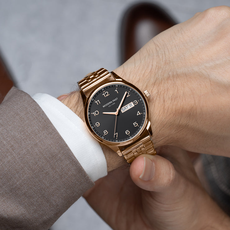 Harrison Rose Gold Stainless Link / Black