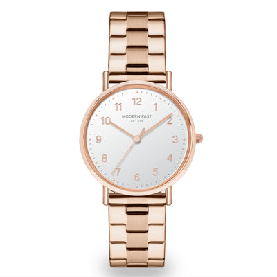 Emma Rose Gold Stainless Link / White