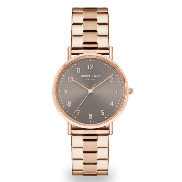 Emma Rose Gold Stainless Link / Grey