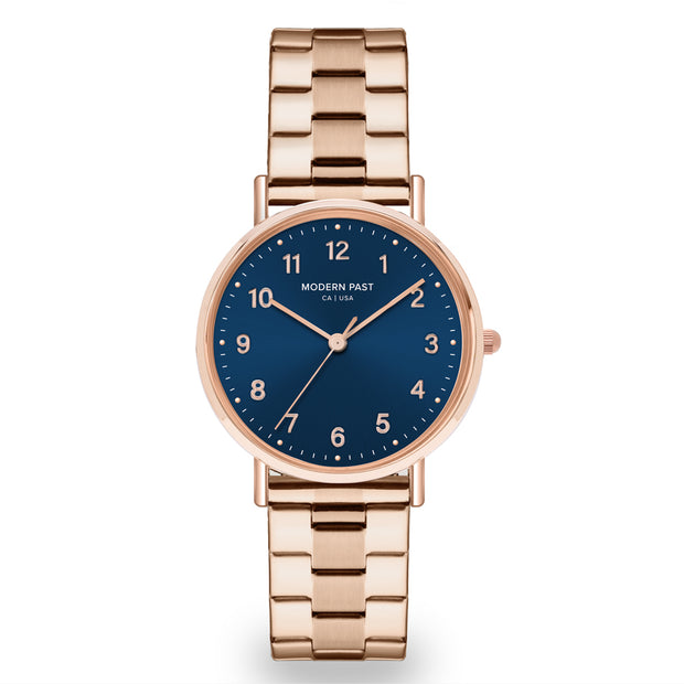 Emma Rose Gold Stainless Link / Blue
