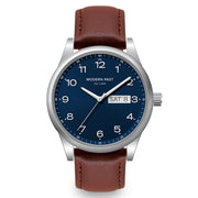Harrison Cognac Leather Silver / Blue
