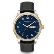 Harrison Black Leather Silver Gold / Blue