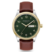 Harrison Cognac Leather Silver Gold / Green