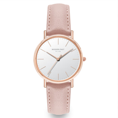 Lola Pink Leather Rose Gold / White