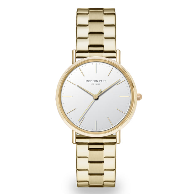 Lola Gold Stainless Link / White