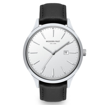 Parker Black Leather Silver / White
