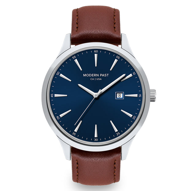 Parker Cognac Leather Silver / Blue