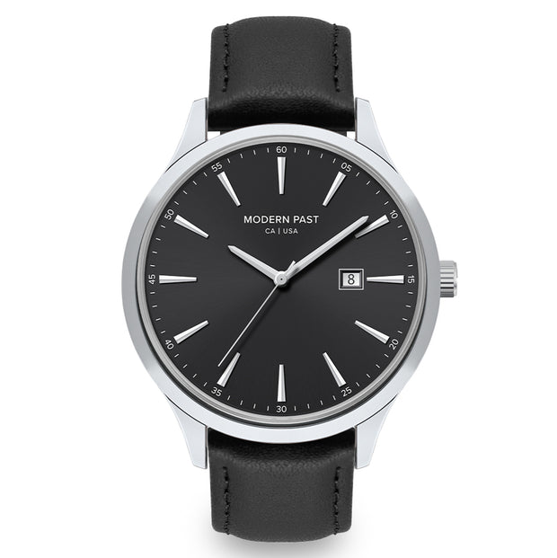 Parker Black Leather Silver / Black