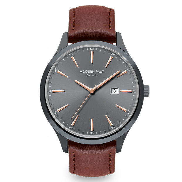 Parker Cognac Leather Gunmetal / Gunmetal