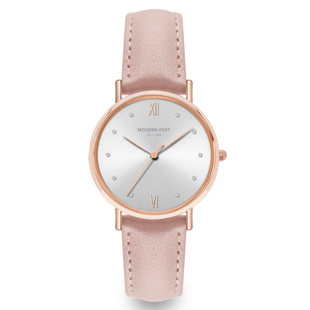 Sophia Pink Leather Rose Gold / White