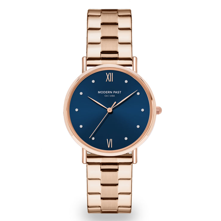 Sophia Rose Gold Stainless Link / Blue