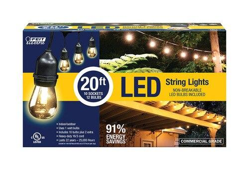 FEIT Electric LED Edison LED Light String Clear 240 in. 10 lights