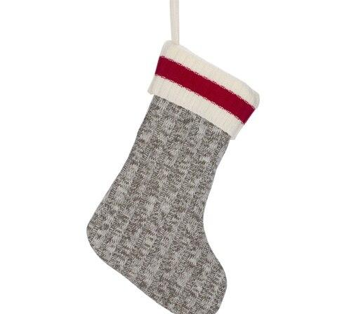 Grey Knit Stocking w/Red Band 20''