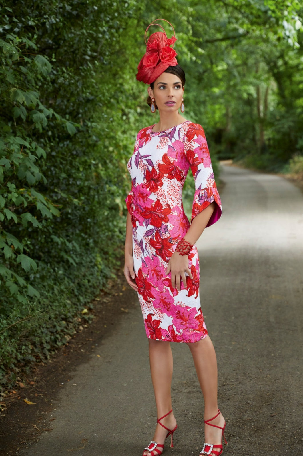Veni Infantino - Bold hot pink floral dress