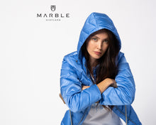 Load image into Gallery viewer, Marble - Sky blue puffer jacket