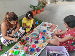 Children playing with diy tools with home
