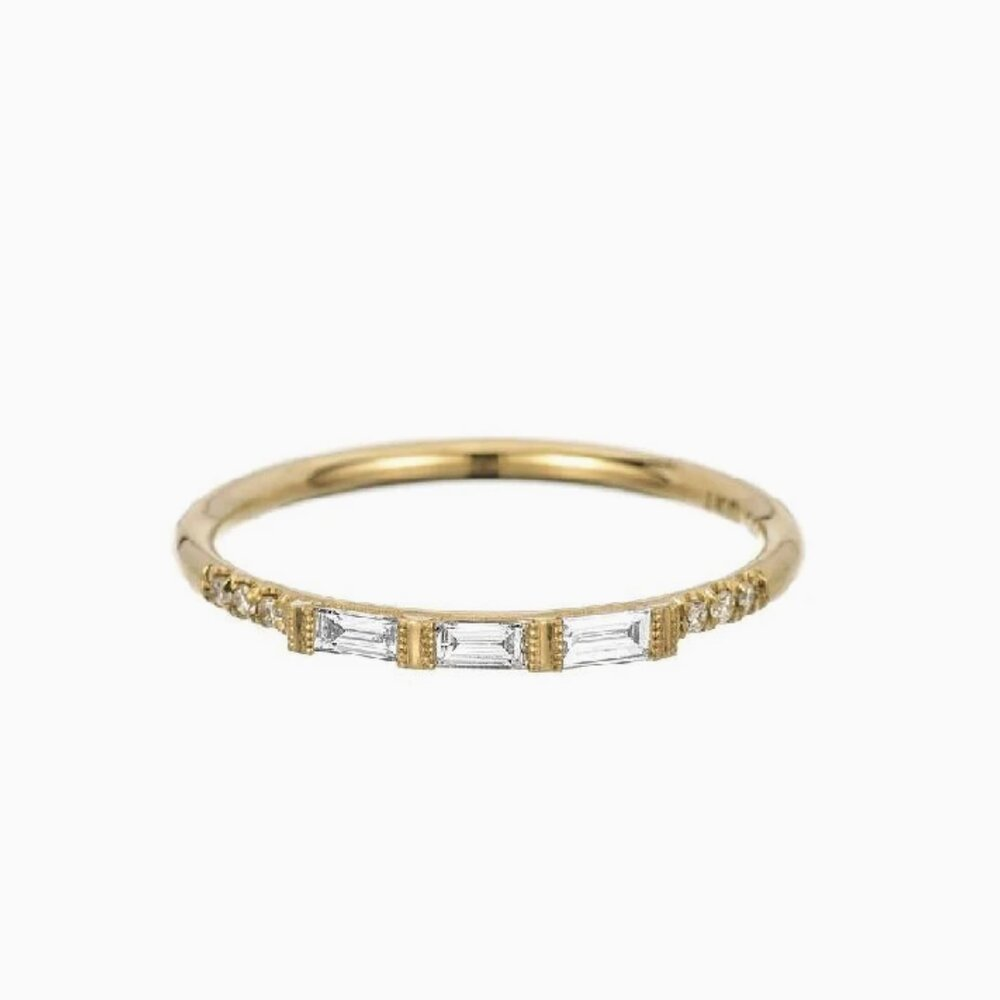Load image into Gallery viewer, 3 Baguette Diamond Equilibrium Ring