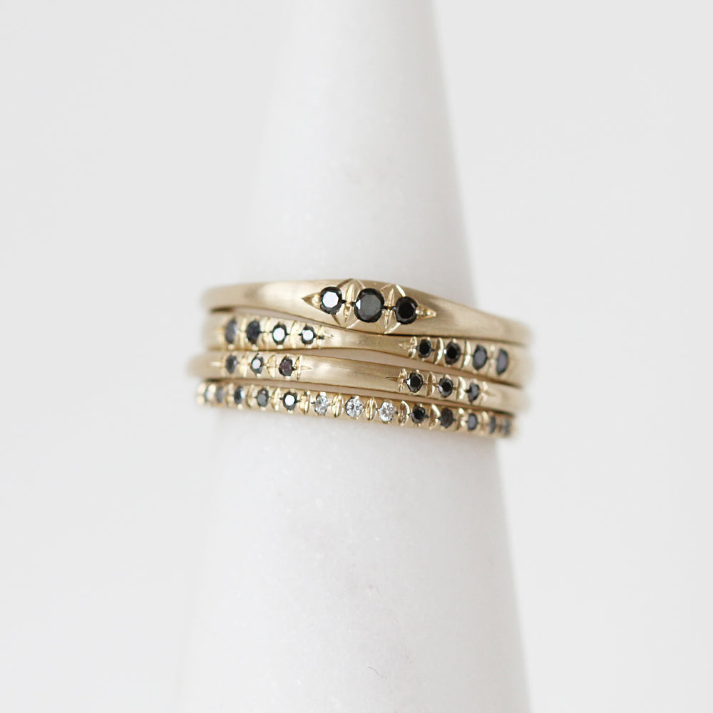 Load image into Gallery viewer, Danyell Rascoe Black Diamond 10K Ring Stack