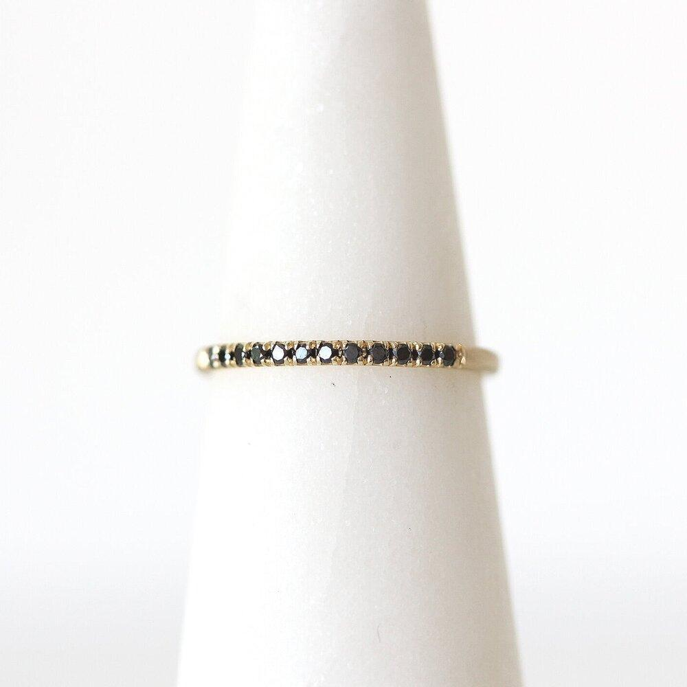 Jennie Kwon black diamond pave band in 14k yellow gold