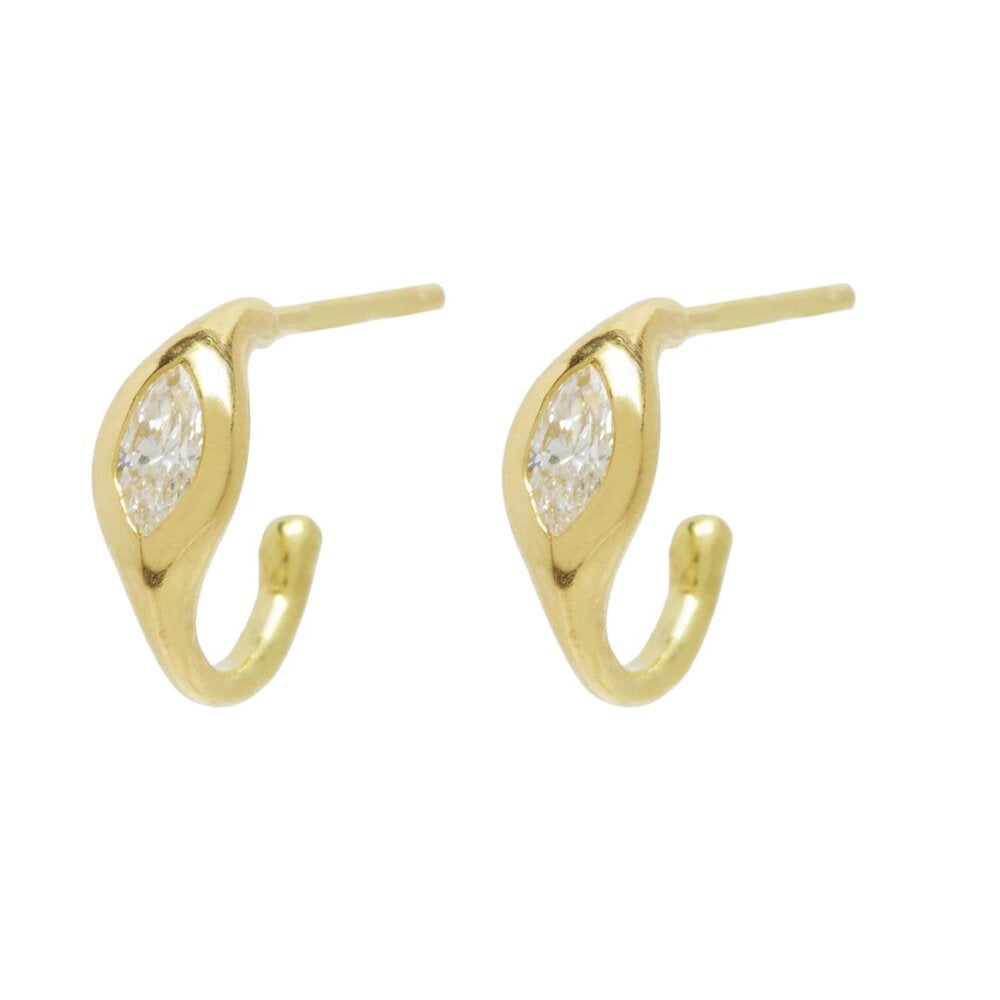 Load image into Gallery viewer, Marquise Diamond Hug Hoops