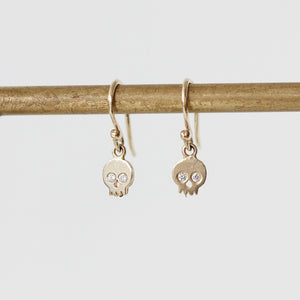 Victoria Cunningham 14K Skull Drop Earrings with Diamond Eyes
