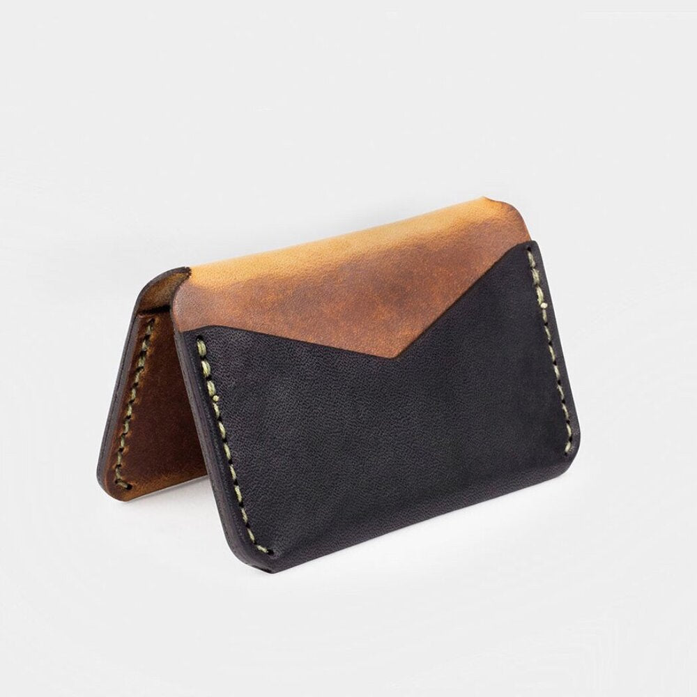 Folding Card Wallet-Black/Tobacco