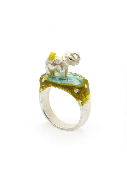 Palnart Poc Baby Elephant Enamel Animal Ring