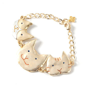 Palnart Poc Gold Cat Family Brass Bracelet