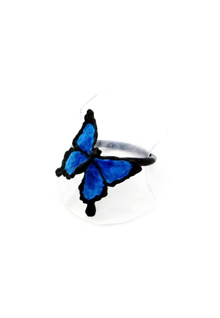 Palnart Poc Elegant Blue Swallowtail Butterfly Ring