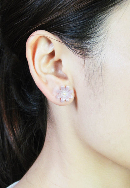 Palnart Poc Pink Cosmos Flower Hypoallergenic Surgical Steel Stud Earrings