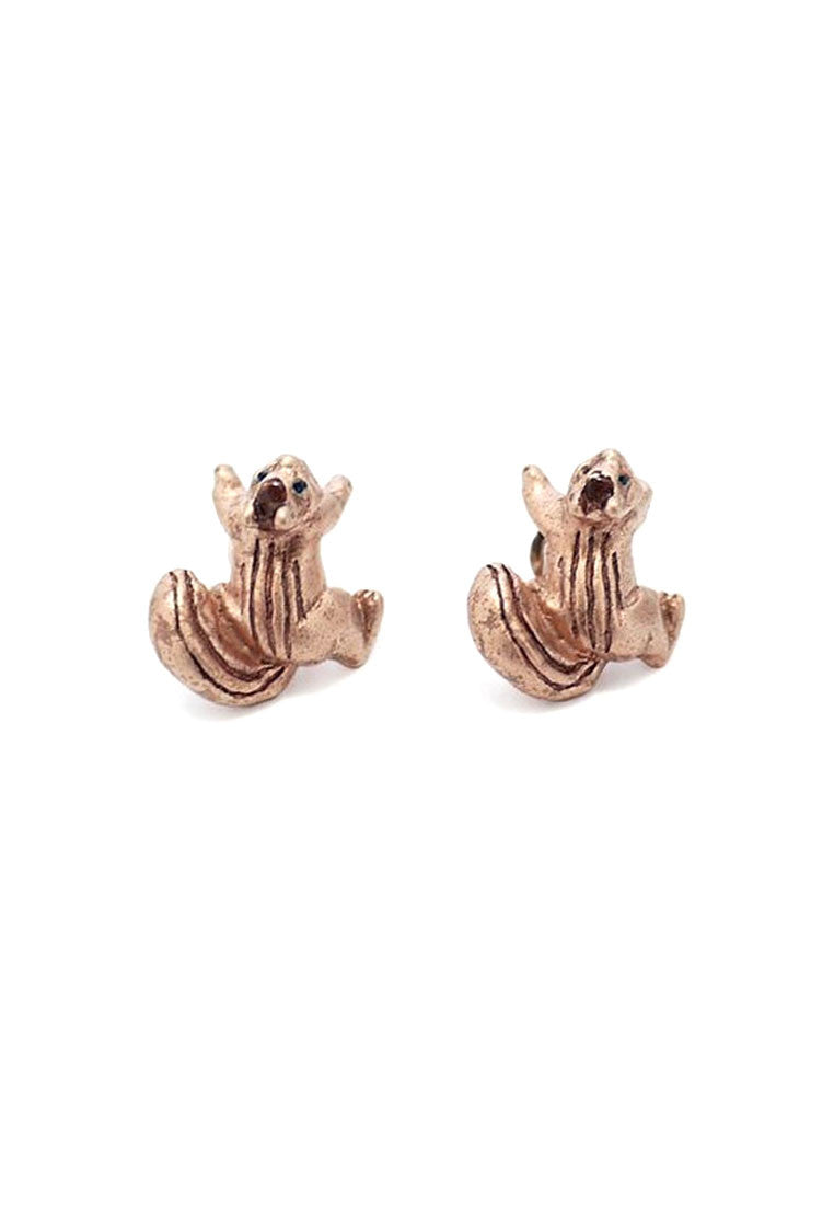Palnart Poc Bronze Squirrel Hypoallergenic Surgical Steel Stud Earrings