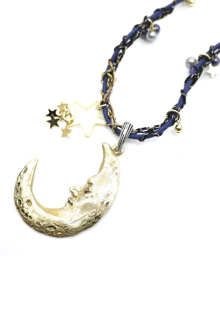 Palnart Poc Gold Celestial Crescent Moon Tweed Long Pendant Statement Necklace
