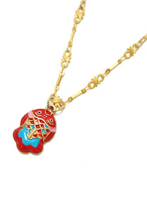Palnart Poc Red Lucky Koi Fish Charm Statement Pendant Necklace