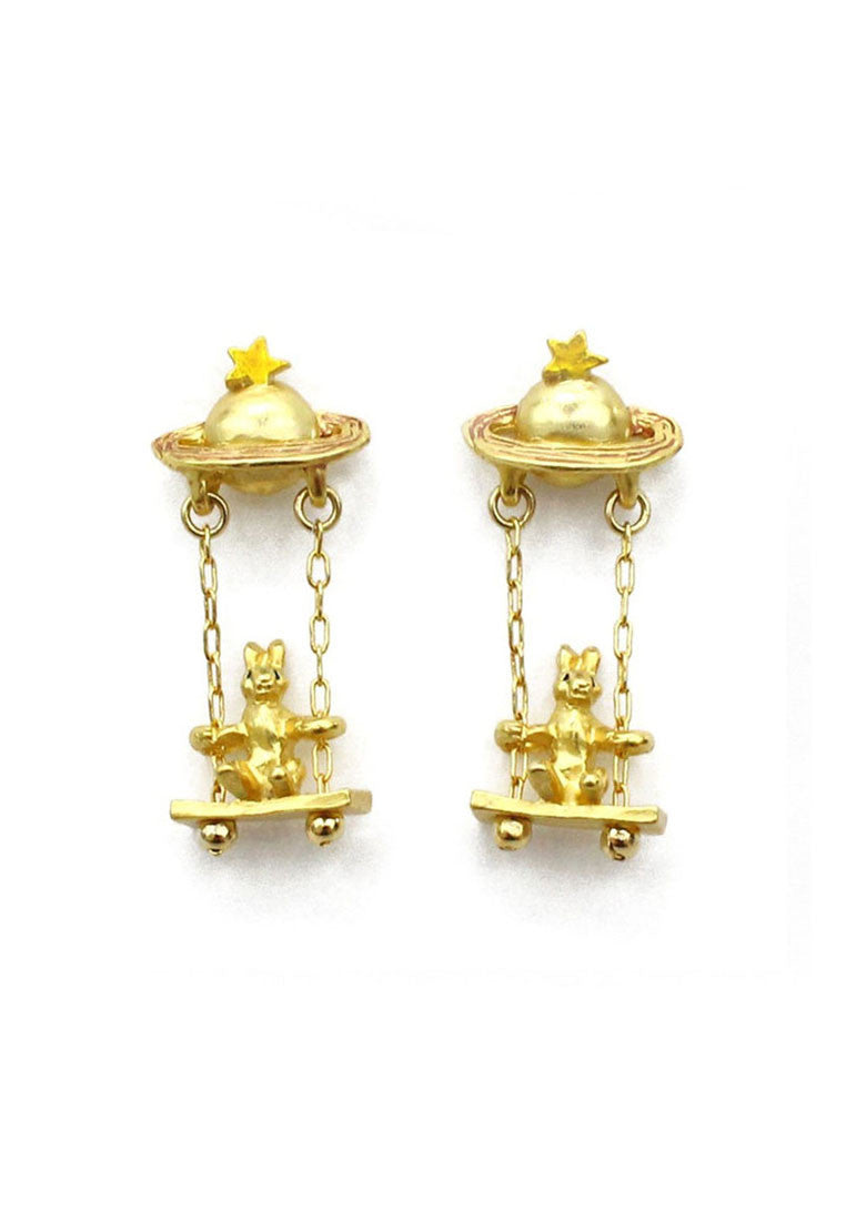 Palnart Poc Gold Space Rabbit Swing Hypoallergenic Surgical Steel Dangle Earrings