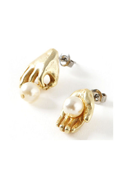 Palnart Poc Golden Harvest Pearl Hypoallergenic Surgical Steel Stud Earrings