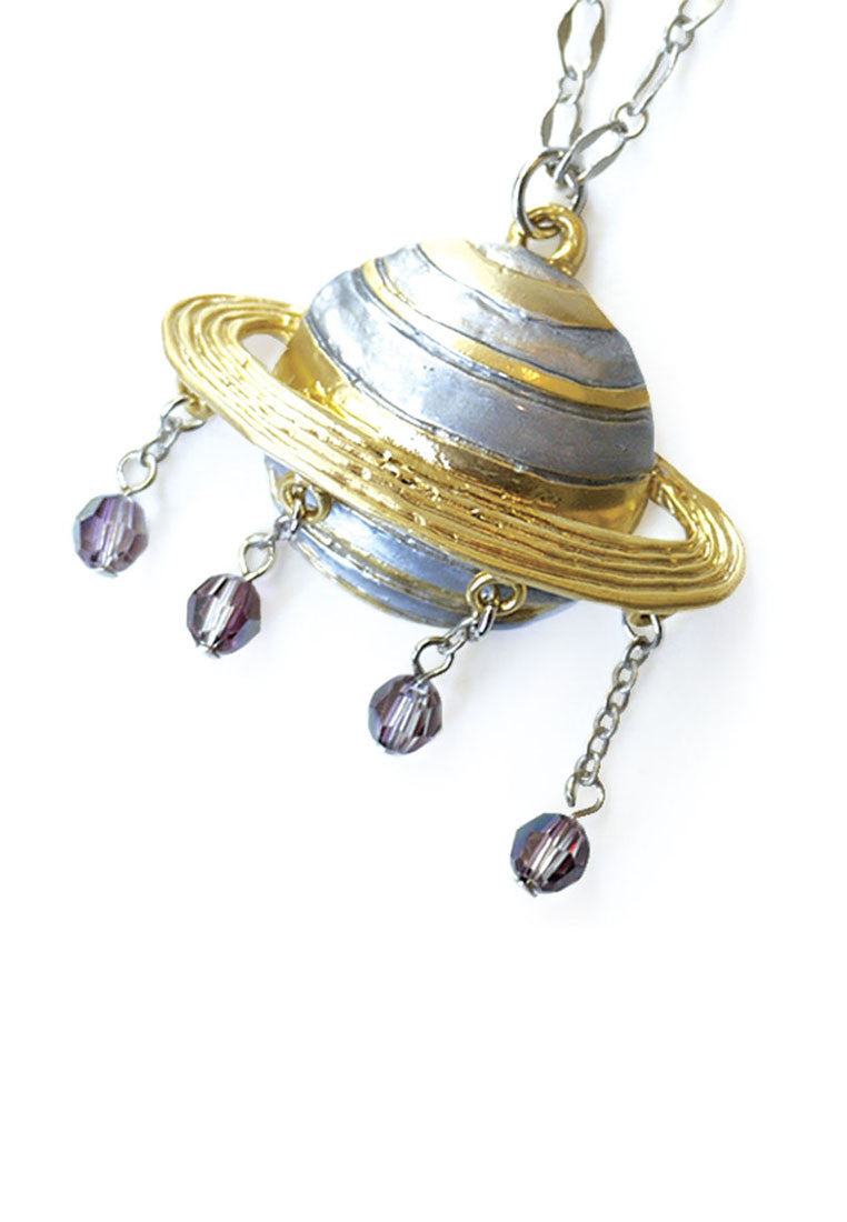 Palnart Poc Saturn Celestial Statement Crystal Pendant Necklace