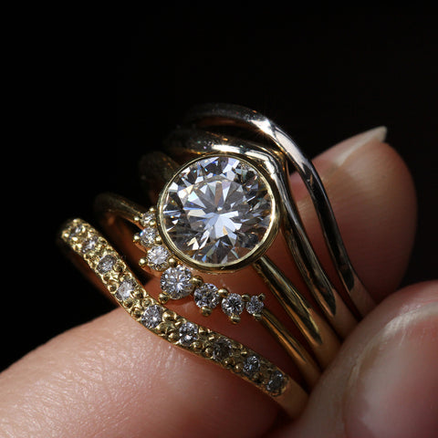18k Yellow Gold Tulip Bezel Solitaire with Arch Band Swoop Band Curved Shared Prong Band and Nestling Band with Diamonds